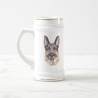 Der beste Freund-Porträt des Schäferhund-Mannes Bierglas