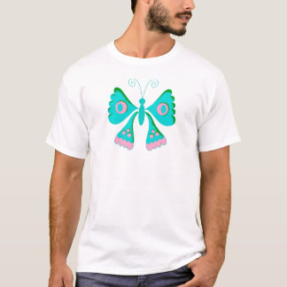Der blaue rosa Schmetterling des T - T-Shirt