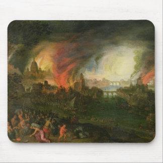 Der Burning von Troja (Öl auf Kupfer) Mousepad