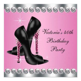 Der Chic-Rosa-Leopard-Geburtstags-Party der Frau Quadratische 13,3 Cm Einladungskarte