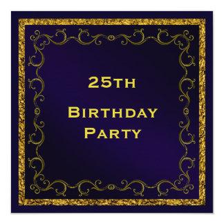 Der doppelte mit Seiten versehene 25. Geburtstag Quadratische 13,3 Cm Einladungskarte