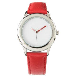 Der Edelstahl-rote Lederband-Uhr des Kindes Armbanduhr