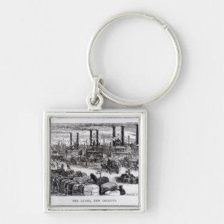 Der Empfang, New Orleans Silberfarbener Quadratischer Schlüsselanhänger