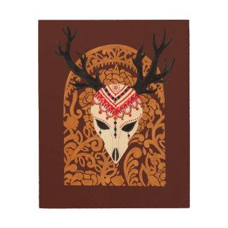 Der ethnische Rotwild-Kopf Holzdrucke