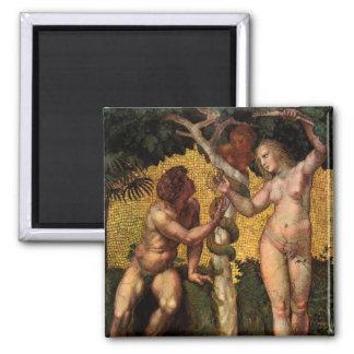 Der Fall - Adam und Eve durch RAPHAEL Sanzio Quadratischer Magnet