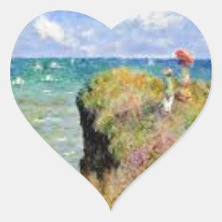 Der Felsen von Pourville von Claude Monet Herz-Aufkleber