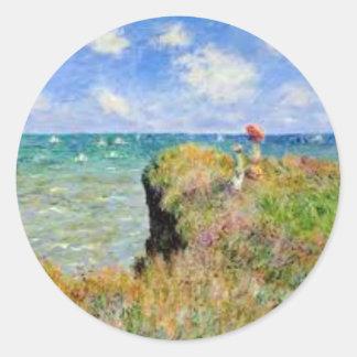 Der Felsen von Pourville von Claude Monet Runder Aufkleber
