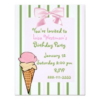 Der Geburtstags-Einladung des Eistüte-Mädchens 10,8 X 14 Cm Einladungskarte