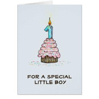 Der Geburtstags-Kuchen-Karte des Jungen erste Grußkarte