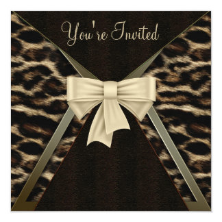 Der Geburtstags-Party der eleganten Leopard-Frau Quadratische 13,3 Cm Einladungskarte