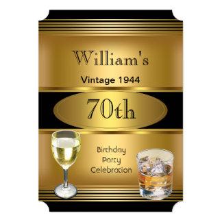 Der Geburtstags-Party-Goldgetränke der Vintagen 12,7 X 17,8 Cm Einladungskarte