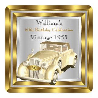 Der Geburtstags-Party-Goldsilber der Vintagen Quadratische 13,3 Cm Einladungskarte
