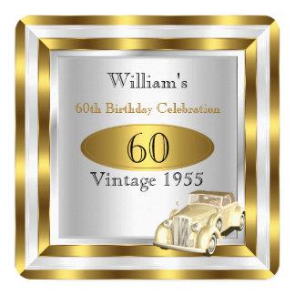 Der Geburtstags-Party-Goldweiß 2 der Vintagen Quadratische 13,3 Cm Einladungskarte