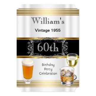 Der Geburtstags-Party-Goldweiß-Bier der Vintagen 12,7 X 17,8 Cm Einladungskarte