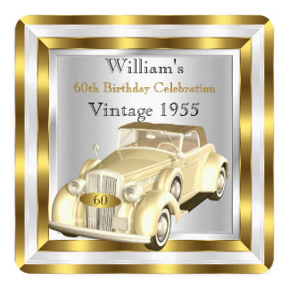 Der Geburtstags-Party-Goldweiß der Vintagen Quadratische 13,3 Cm Einladungskarte