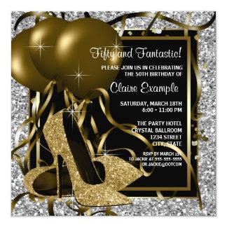 Der Geburtstags-Party schwarzes silbernes Goldder Karte