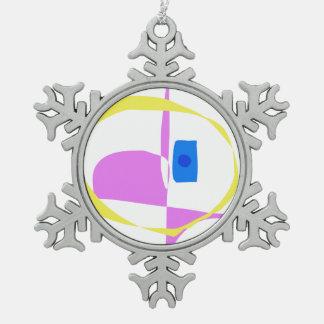 Der gelbe Kreis Schneeflocken Zinn-Ornament