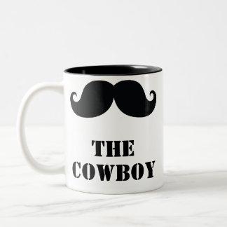 Der gelockte Schnurrbart des Cowboys lustig Zweifarbige Tasse