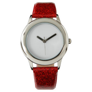 Der Glitter-Bügel-Uhr des Kindes rote Handuhr