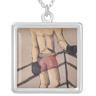 Der große Boxer Halskette Mit Quadratischem Anhänger