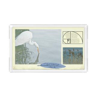 Der große weiße Reiher --- Rechteckig Acryl Tablett