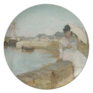 Der Hafen bei Lorient, 1869 (Öl auf Leinwand) Flacher Teller