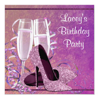 Der hohe Fersen-Frau Champagne das heiße Individuelle Einladungskarte