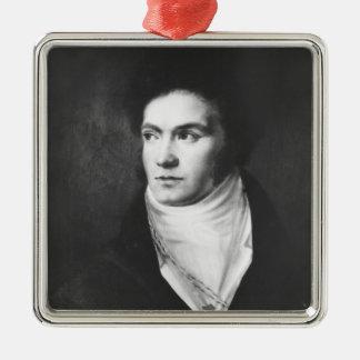 Der junge Ludwig van Beethoven 1806 Quadratisches Silberfarbenes Ornament