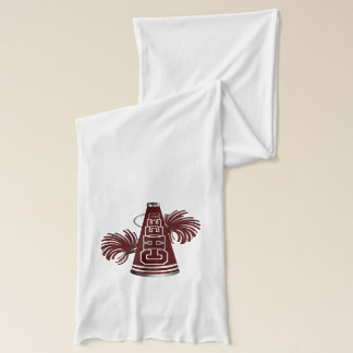Der kastanienbraune und weiße stilvolle Schal der