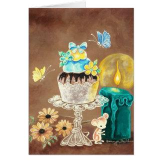 Der kleine Kuchen, die Kerze und die Maus Karte