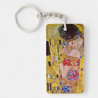 Der Kuss durch Gustav Klimt, Vintage Kunst Nouveau Beidseitiger Rechteckiger Acryl Schlüsselanhänger
