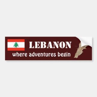 Der Libanon-Flagge + Karten-Autoaufkleber Autoaufkleber