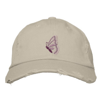 Der lila Hut der Schmetterling gestickten Frauen Bestickte Baseballcaps