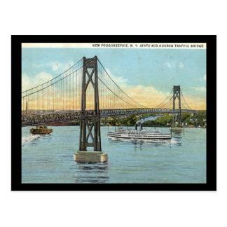 Der Mittler-Hudson Brücke, Poughkeepsie 1930 Postkarte