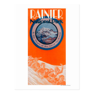 Der Mount- Rainierplakat - Sledding Postkarte