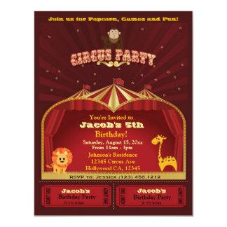 Der niedliche Zirkus des Kindes etikettiert 10,8 X 14 Cm Einladungskarte