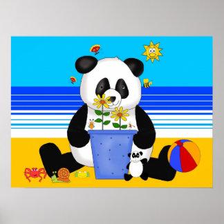Der Panda des Plakat-Kunst-Kindes am Strand Poster