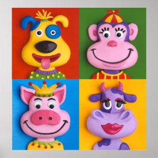 Der Raum-Kinderzimmer vier Tiergesichts-Kindes Poster