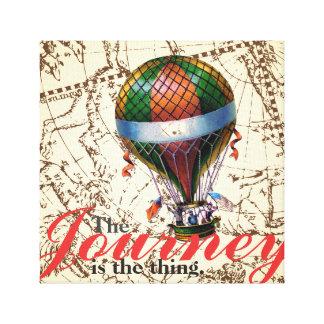 Der Reise-Heißluft-Ballon-Tierkreis-Hintergrund Leinwanddruck