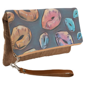 Der Retro Kuss-Frauen falten Handtasche zusammen