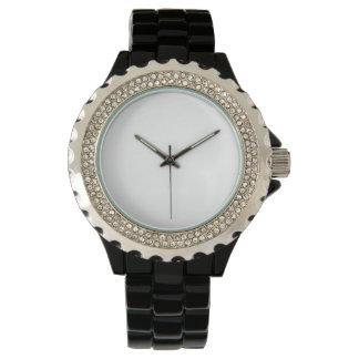 Der Rhinestone-Schwarz-Email-Uhr der Frauen Armbanduhr