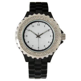 Der Rhinestone-Schwarz-Email-Uhr der Frauen Uhr