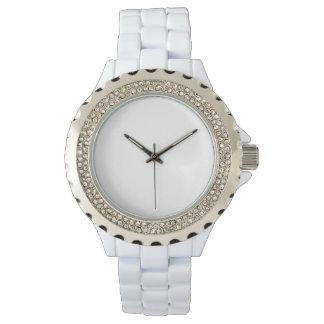 Der Rhinestone-weiße Email-Uhr der Frauen Uhren