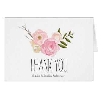 Der romantische rosa Blumen Aquarell-Garten danken Mitteilungskarte