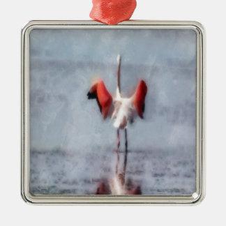 Der rosa Flamingo im Aquarell Quadratisches Silberfarbenes Ornament