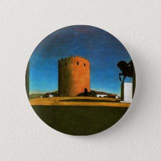 Der rote Turm durch Giorgio de Chirico 1913 Runder Button 5,7 Cm