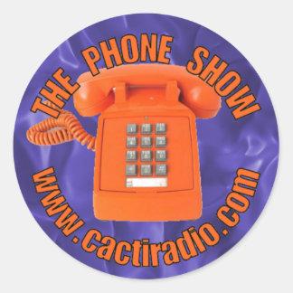 Der runde Aufkleber Telefon-Show-cactiradio.com
