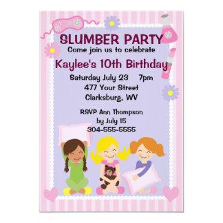 Der Schlummer-Party des Mädchens 12,7 X 17,8 Cm Einladungskarte