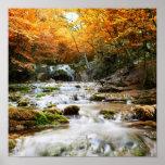 Der schöne Wasserfall im Wald, Herbst Posterdruck