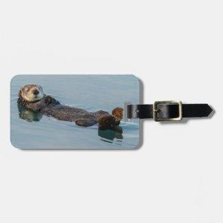 Der Seeotter, der an schwimmt, ziehen sich im Kofferanhänger